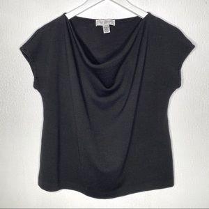ST. JOHN Black Cowl Neck Wool Top Size Medium